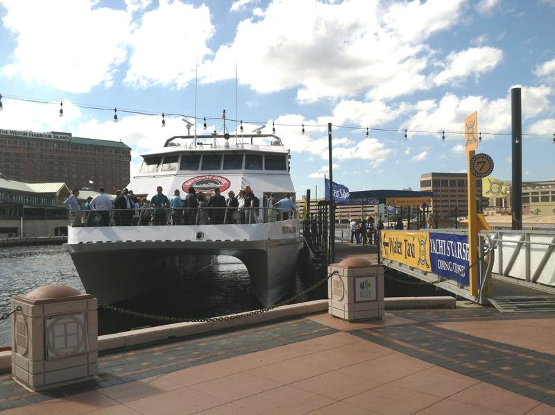 The Cross-Bay Ferry tied up at the Tampa docks adjacent to the Tampa Convention Center.