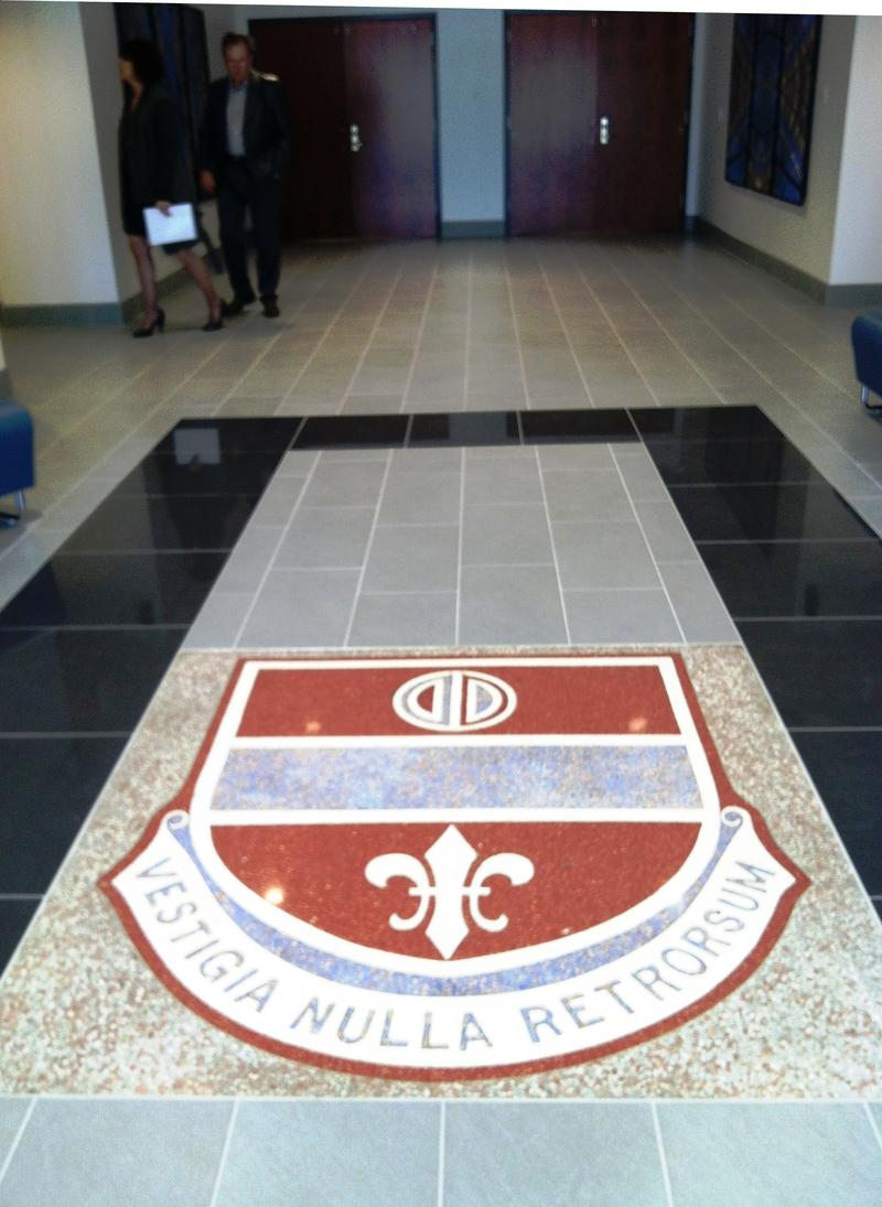 The logo in the historic entrance