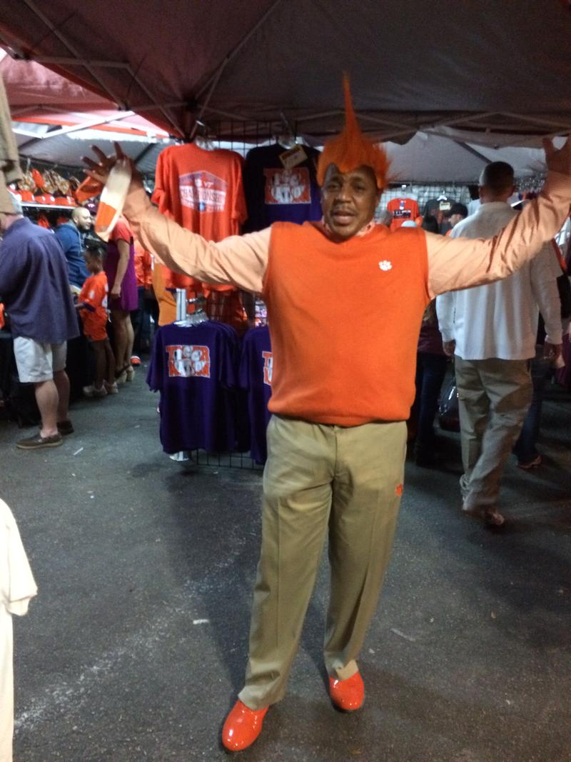 Jerry Edwards, aka Hollywood, holds court outside the ACC Championship in Orlando.