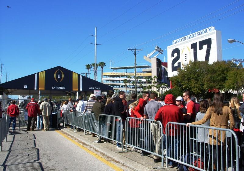 The line stretches for a half-mile to get into the fan zone outside Raymond James Stadium