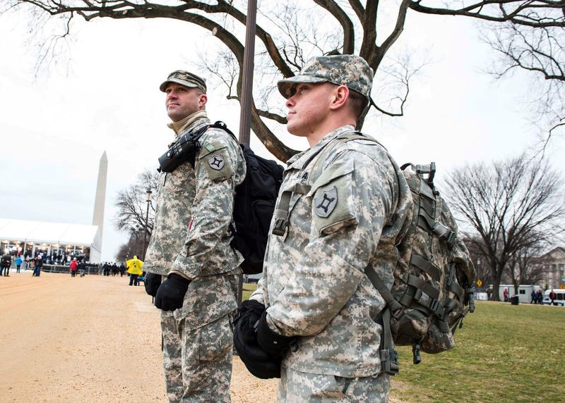 Two Florida National Guardsmen on the Washington D.C. Mall Thursday.