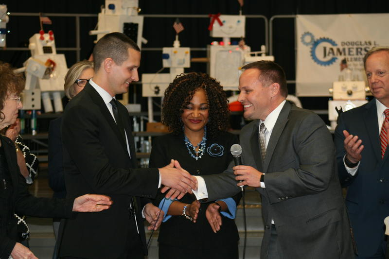 Milken Foundation Vice President Jane Foley, Lukas Hefty, Jamerson principal  Brandie Williams-Macon, Florida Deputy Chancellor for Educator Quality Brian Dassler, Pinellas school superintendent Michael Grego.