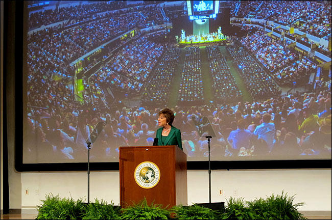 USF System President Judy Genshaft speaks at her State of the University address in Sept. 2015.