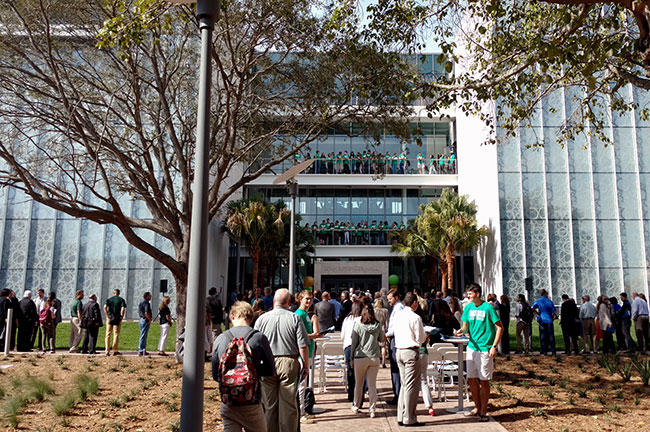 Guests attend the opening of the Lynn Pippenger Hall, the new home of the USF St. Petersburg Kate Tiedemann College of Business.