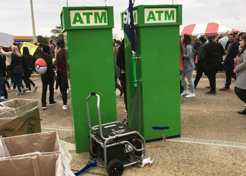 So many people were crowded into the parade route using their cell phones that many reported losing their cell service. But if you were short of cash, the ATMs were powered by their own generator.