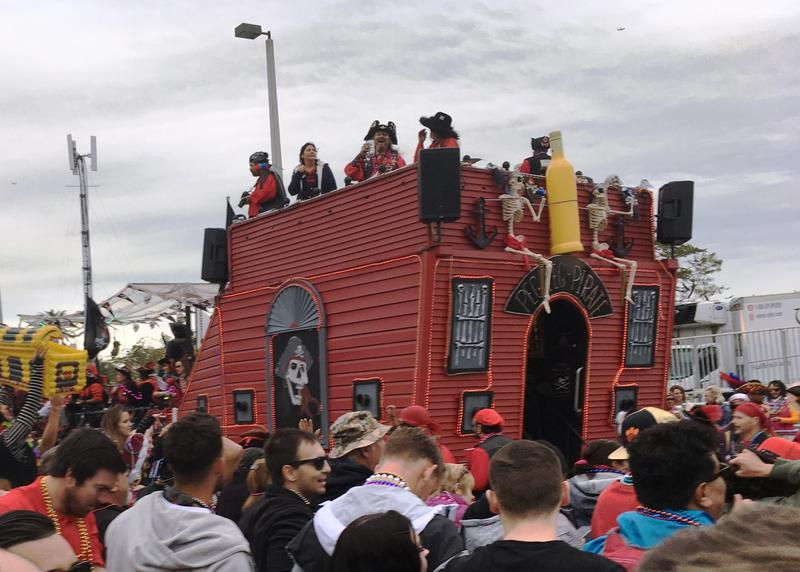 Gasparilla floats come in a myriad of colors and shapes resembling pirate ships.
