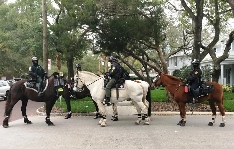 A mounted patrol helped keep an eye on the crowds.