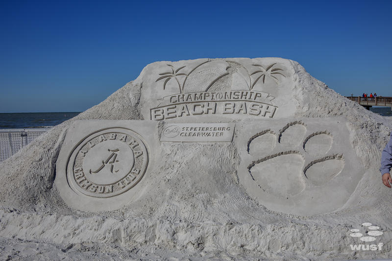 What's a beach party without a sand sculpture?