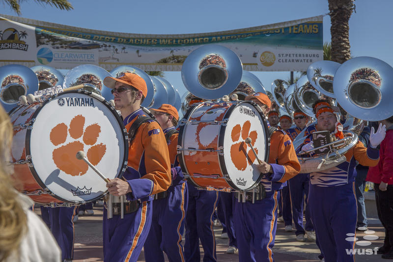 The Clemson Tigers band at the Clearwater Beach Bash Party.