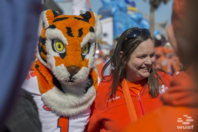 The Clemson Tigers mascot at the Clearwater Beach Bash Party.