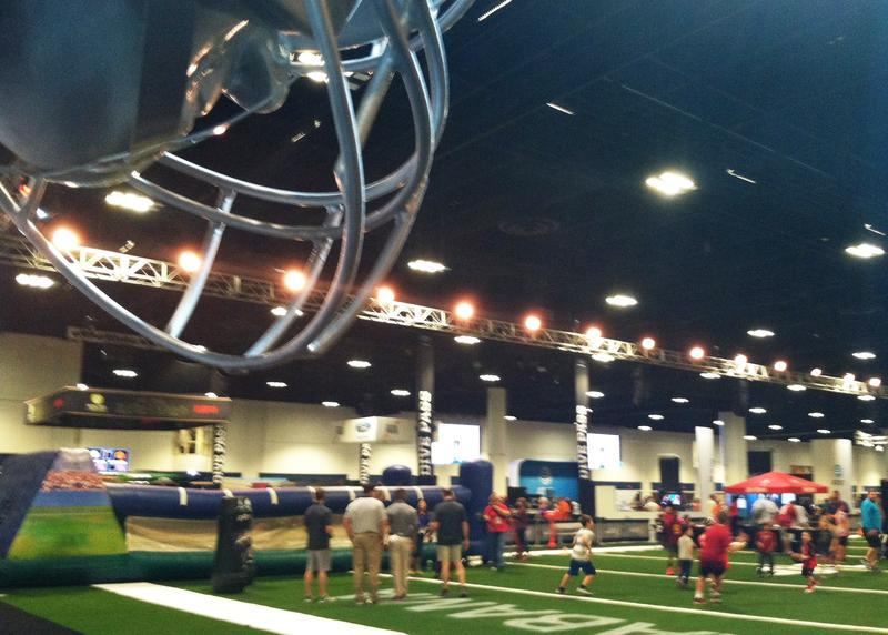 An overview of the field of play for kids testing their football moves at the Fanfest experience.