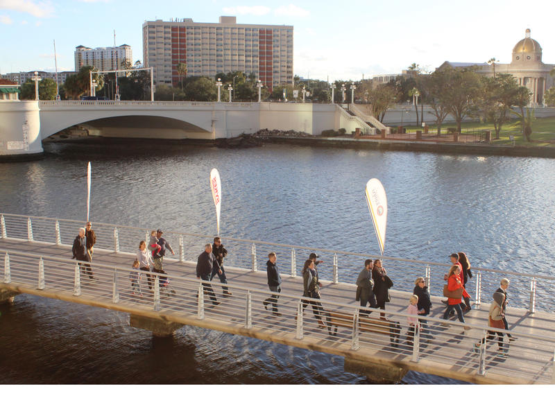 Many fans walked along the Tampa Riverwalk to get to the free concerts at Curtis Hixon Park.
