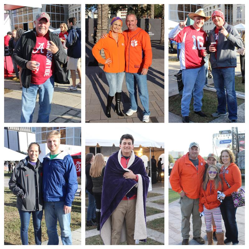 Alabama and Clemson fans showed their colors at Curtis Hixon Park Saturday. One of them was very cold!