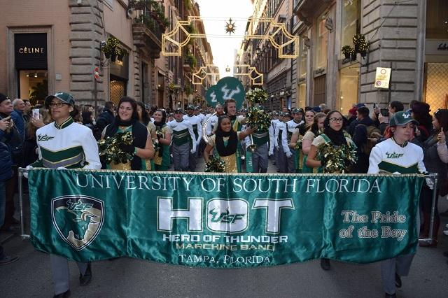 The USF Herd of Thunder Marching Band takes part in the Rome New Year's Parade.