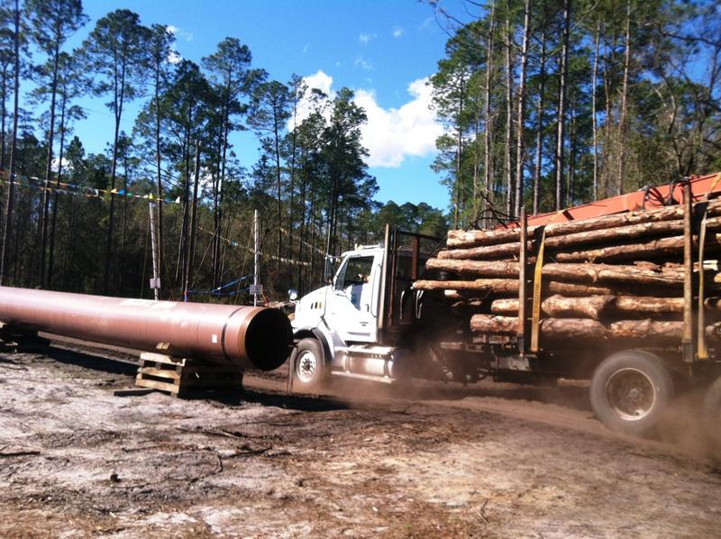 Logging trucks rumble outside Robin Koon's home