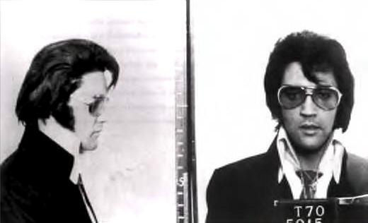 In 1970, Elvis Presley had this mugshot taken during a visit to FBI Headquarters in Washington D.C.