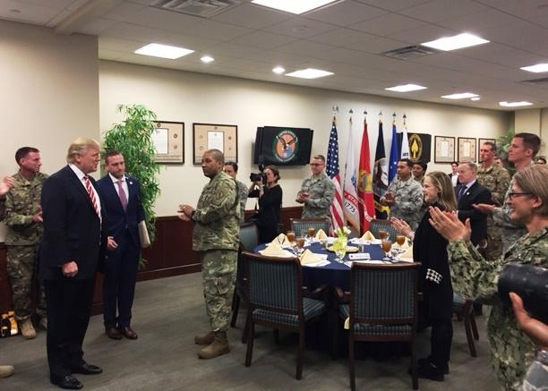 President Trump greeting the hand-selected airmen, soldiers and seamen who dined with him in the U.S. Central Command, fourth floor, executive dining room.