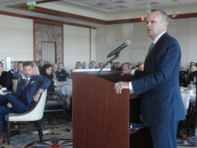 House Speaker Richard Corcoran speaks at the Argus Foundation meeting with State Sen. Greg Steube, R-Sarasota