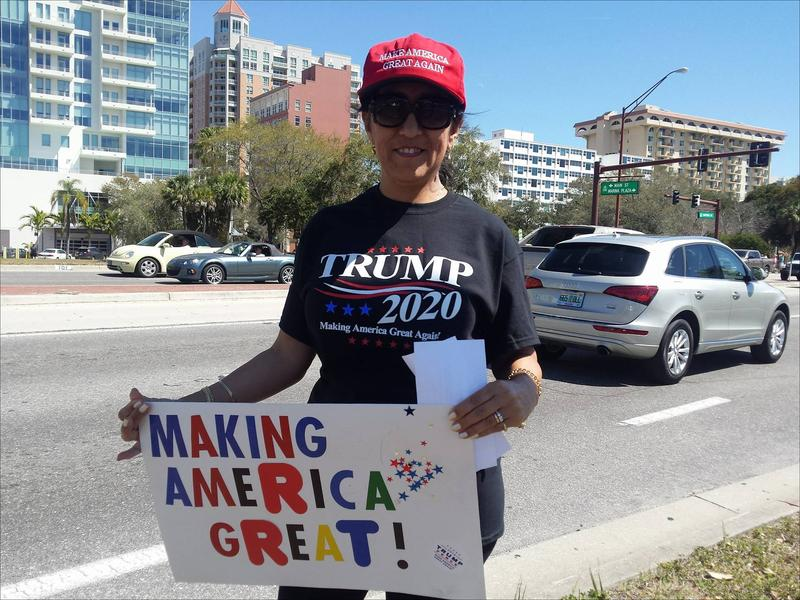 Gloria Horner, who's originally from Colombia, supports Trump's stance on immigration - saying that if people want to come to America, they need to do so legally, like she did. She's gearing up for what she feels is Trump's inevitable 2020 re-election bid