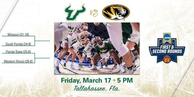 #11 seed USF plays #6 Missouri in Tallahassee Friday. The winner plays the winner of #3 Florida St. and #14 Western Illinois on Sunday.