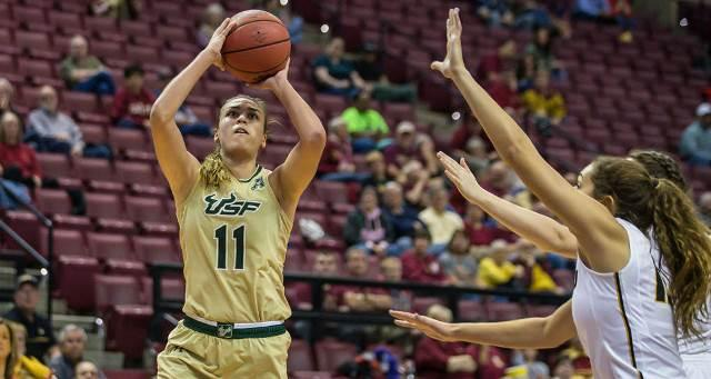 Senior Ariadna Pujol led the scoring in her final game at USF with 20 points vs. Missouri.