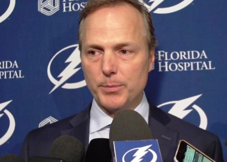 Lightning head coach Jon Cooper during a post-game news conference after Tuesday's victory in Ottawa.