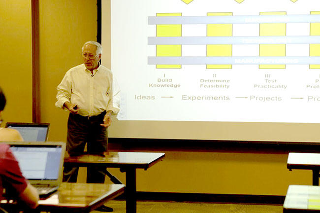 "Former Corning Incorporated researcher and executive Donald Keck talks to the USF Honors College course called  ""Get Innovative"" about how he helped develop optical fiber strong enough to support the internet."
