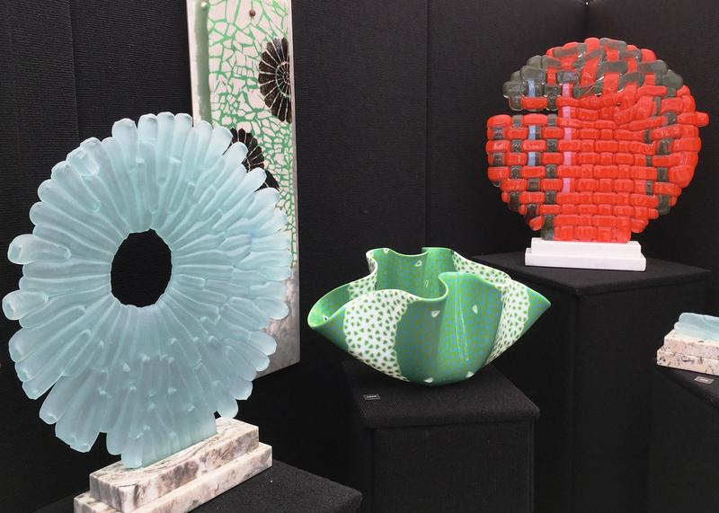 Glass sculptures on display.