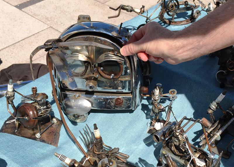 A different kind of kitchen craft - creating sculptures from old toasters, spoons and spark plugs.
