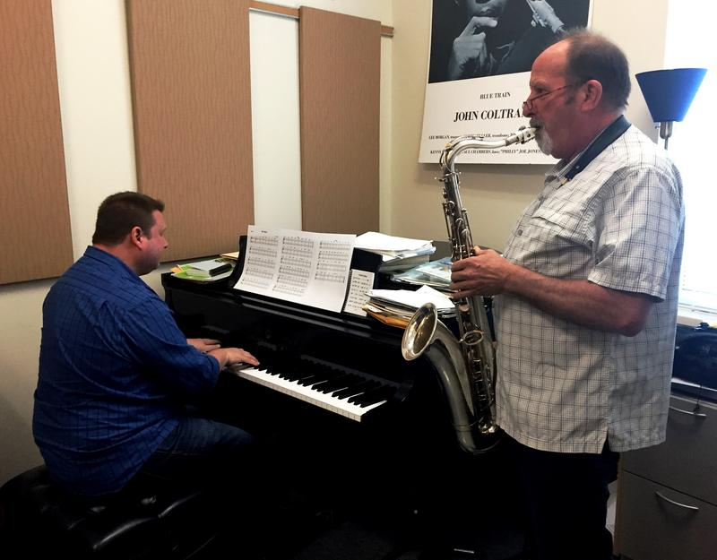 "USF Director of Jazz Studies Jack Wilkins (on saxophone) plays a portion of his upcoming concert ""The Banff Project,"" accompanied by USF Instructor of Jazz Piano Chris Rottmayer."