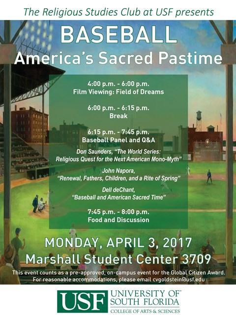 """Baseball: America's Sacred Pastime"" takes place Monday at 4 p.m. in the USF Marshall Student Center."