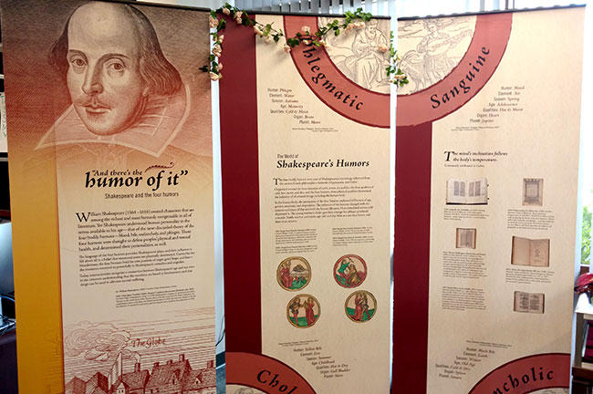 """And there's the humor of it: Shakespeare and the four humors,"" a National Library of Medicine exhibit, is on display at the USF Shimberg Health Sciences Library through April 22."