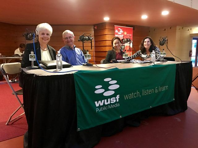 Panelists from Florida Matters' town hall on food insecurity in Polk County. Patty Strickland (l), Steve Turbeville, Whitney Fung and host Robin Sussingham.