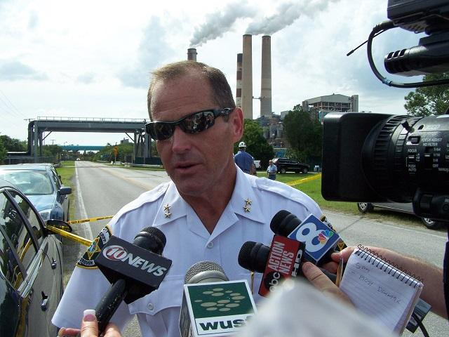 Hillsborough Co. Sheriff David Gee, seen here talking to reporters at a protest during the 2012 Republican National Convention in Tampa, will retire on Sept. 30