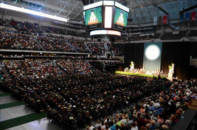 A recent graduation ceremony at the USF Sun Dome in Tampa. Nine ceremonies will be held across the USF System from Friday through Monday.