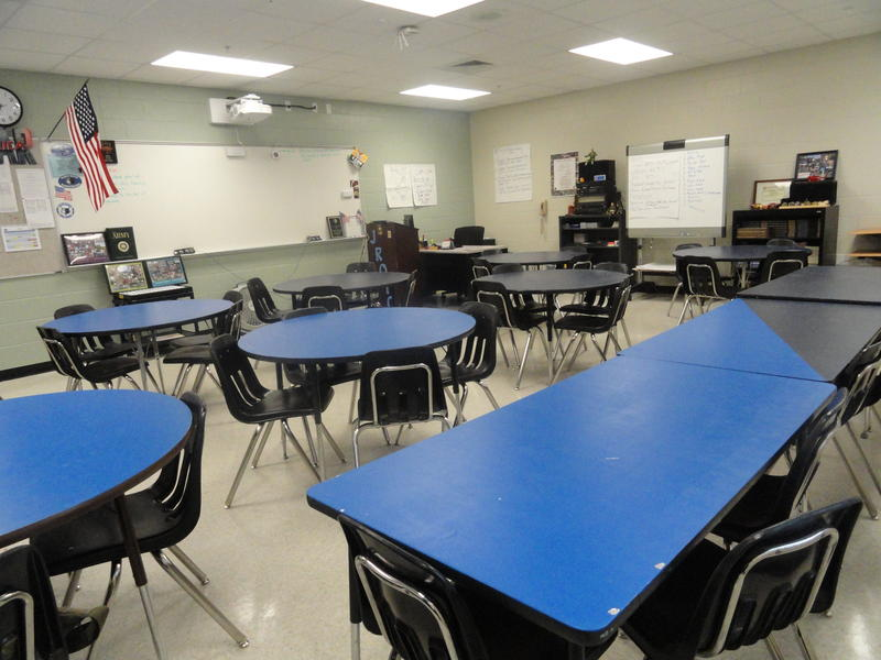 You won't find a student desk inside a JROTC cassrooms. Instead, tables are used to promote teamwork and camraderie.