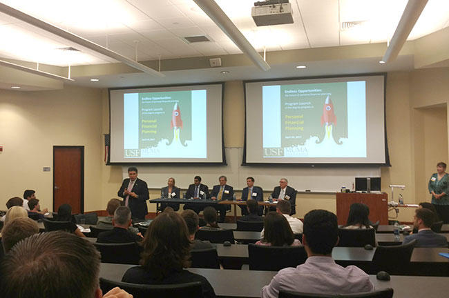 The April launch event for USF's Muma College of Busines Personal Financial Planning program featured a panel of financial planners and advisers who will serve as consultants to the program.