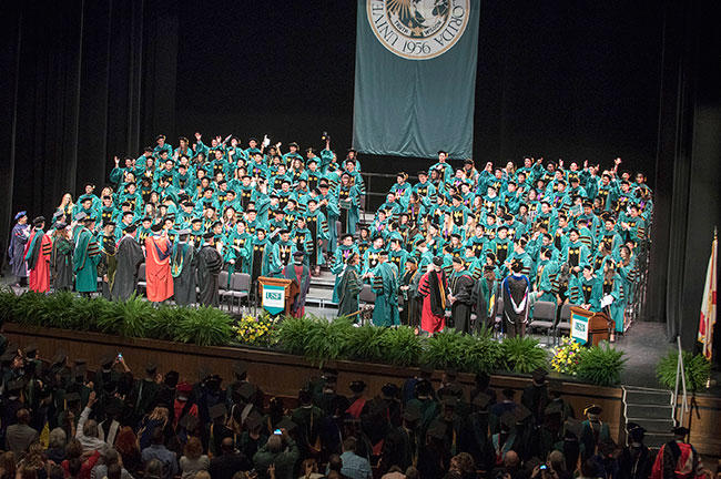 The 164 graduates of this year's USF Health Morsani College of Medicine on stage at their commencement ceremony at the Straz Center in Tampa April 20, 2017.