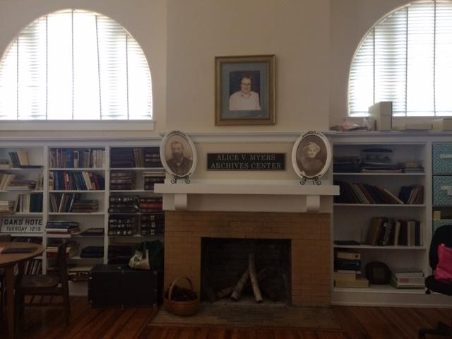 A fireplace in the 1914 Carnegie Library in Palmetto Historical Park
