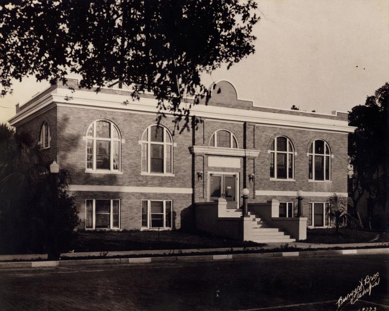Old photo of a Carnegie Library facade