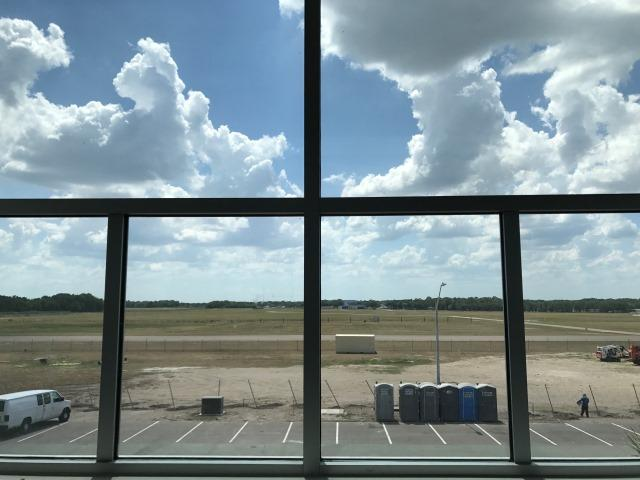 The view of Lakeland Linder Airport from Captain Michael Silah's office at NOAA's new facility.