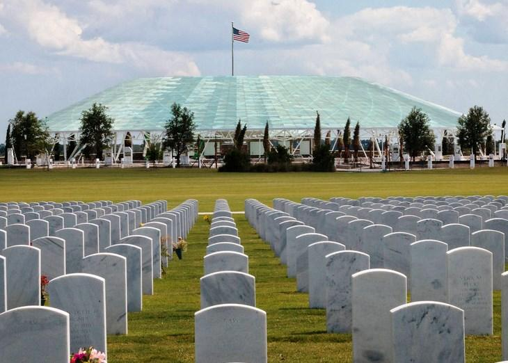 The Sarasota National Cemetery with Patriot Plaza in the distance.