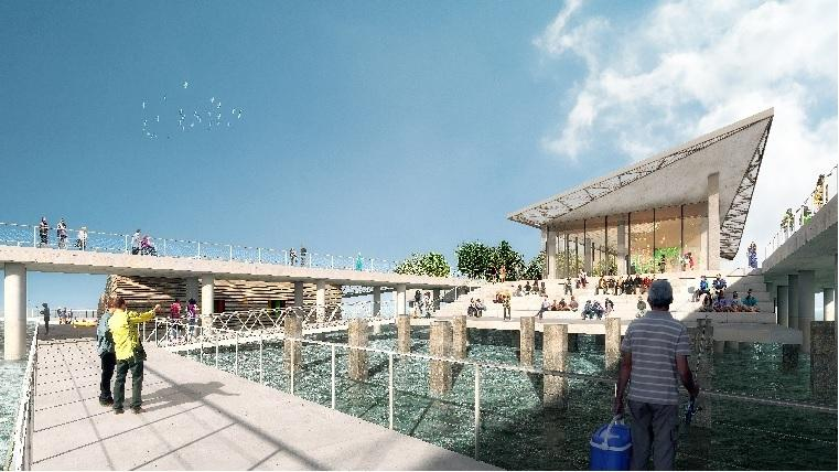 "Renderings of the new St. Petersburg Pier show an outdoor area for marine education, including a ""wet classroom."""