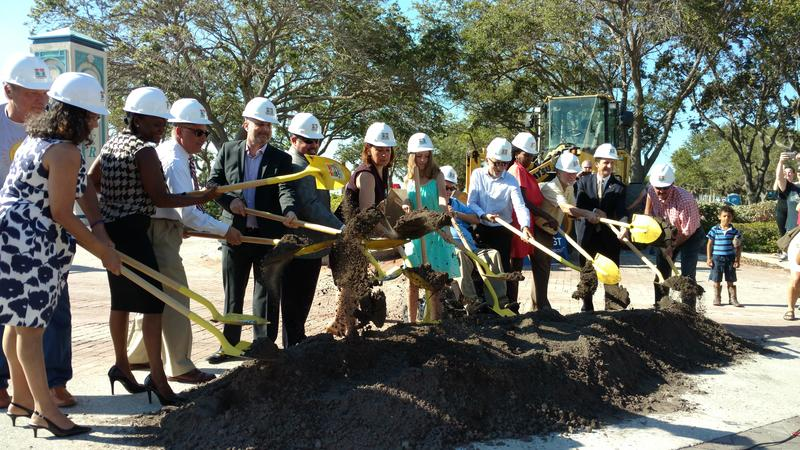 City officials were joined by pier designers and working group members in a commemorative ground-breaking.