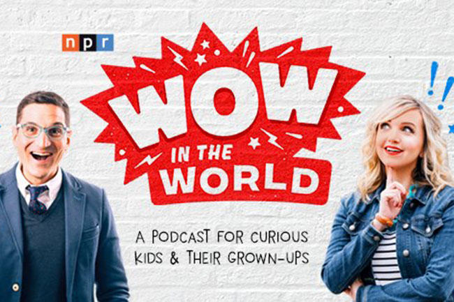 "The first NPR podcast for children, ""Wow in the World,"" pairs NPR's Guy Raz (left) with Sirius XM host, USF alum Mindy Thomas."