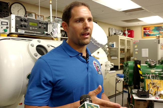 D'Agostino speaks to the media inside the USF Hyperbaric Biomedical Research Laboratory shortly before leaving for the expedition.
