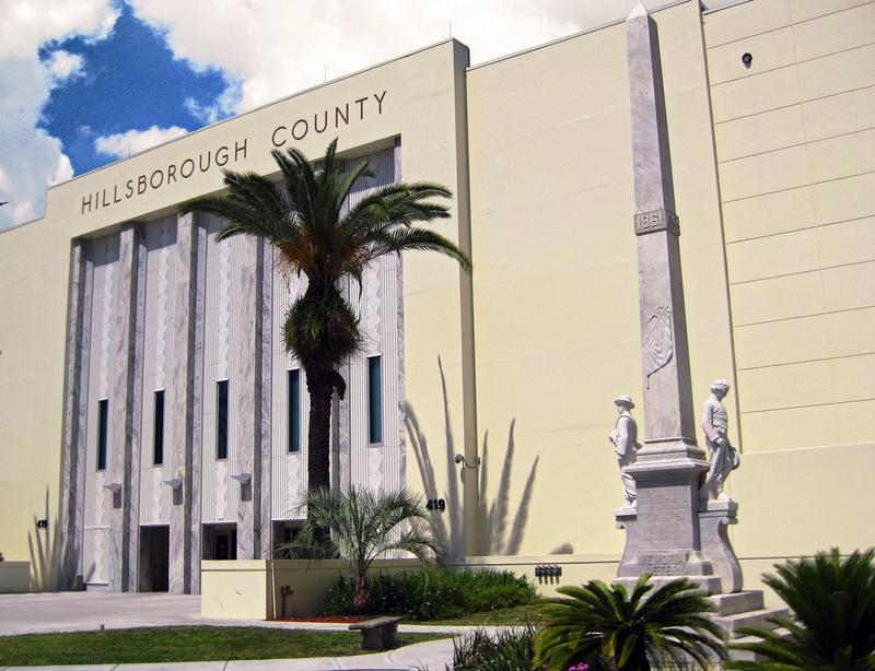 The statue stands at the Hillsborough County Courthouse in Tampa.