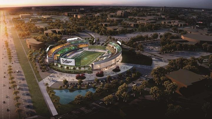 One of two proposed sites for a football stadium on the Tampa campus of USF is at roposed stadium site is near the southeast corner of the Tampa campus at Fowler Ave. and USF Bull Run Drive.