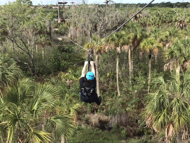 My tour mate Alex Stout zipping through the preserve. We were surrounded by wildlife, and even saw an osprey eating a fish.