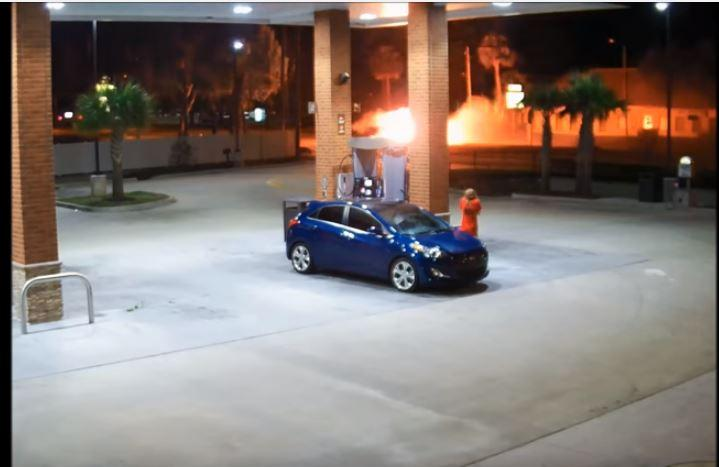 This image from a surveillance video shows the fiery crash Sunday that killed three teens on U.S. 19 in Palm Harbor